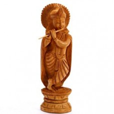 Deals, Discounts & Offers on Home Decor & Festive Needs - Finely Carved Wooden Krishna Idol