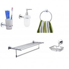 Deals, Discounts & Offers on Home Appliances - Moonstone Towel Ring+ Soap Dish+Tumbler Holder+ Robe Hook+Soap Dispenser