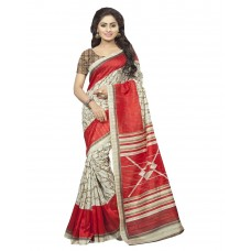Deals, Discounts & Offers on Women Clothing - DivyaEmporio Women's Beige and Red Bhagalpuri Art Silk Saree