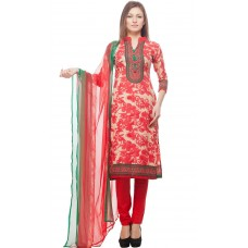 Deals, Discounts & Offers on Women Clothing - DivyaEmporio  Faux Cotton Red and Beige Dress Material