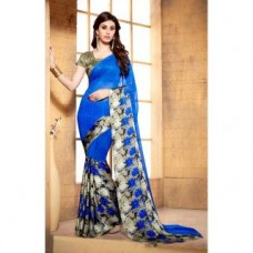 Deals, Discounts & Offers on Women Clothing - Flat 91% off on Triveni Blue Colored Printed Faux Georgette Saree