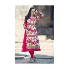 Deals, Discounts & Offers on Women Clothing - Indian Beauty Designer White PInk Floral Dress