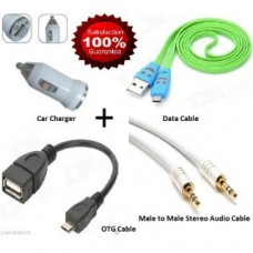 Deals, Discounts & Offers on Car & Bike Accessories - Combo Pack of OTG + Data Cable For Mobile + Car Mobile Charger + Audio Cable