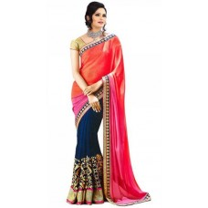Deals, Discounts & Offers on Women Clothing - STYLE AMAZE Orange And Blue beautiful Georgette Saree