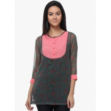 Deals, Discounts & Offers on Women Clothing - Flat 50% off on Kaxiaa Green Printed Tunic
