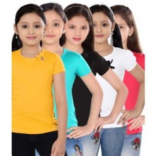 Deals, Discounts & Offers on Kid's Clothing - SINIMINI GIRLS PLAIN TOP - PACK OF 5