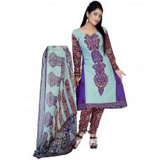 Deals, Discounts & Offers on Women - Variation Design Blue Printed Art Crepe Dress Material