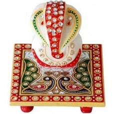 Deals, Discounts & Offers on Home Decor & Festive Needs - Ravishing Multicolor Marble Chowki Ganesha Idol