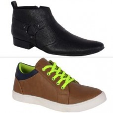Deals, Discounts & Offers on Foot Wear - George Adam Men's Faux Leather Formal Shoes & Casual Shoes Combo