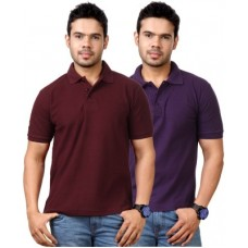 Deals, Discounts & Offers on Men Clothing - Top Notch Solid Men's Polo Neck Maroon, Purple T-Shirt