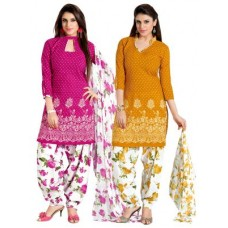 Deals, Discounts & Offers on Women Clothing - Shonaya Latest Set Of 2 Yellow & Pink Printed Cotton Dress Material