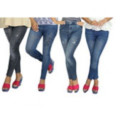 Deals, Discounts & Offers on Women Clothing - Oleva PO4 Denim Style Printed Jeggings New