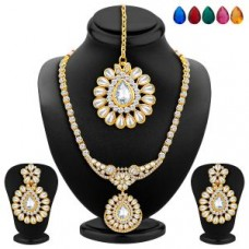 Deals, Discounts & Offers on Earings and Necklace - Sukkhi Appealing Gold Plated Ad Necklace Set With Set Of 5 Changeable Stone