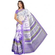 Deals, Discounts & Offers on Women Clothing - Parchayee Floral Print White Mangalgiri Poly Cotton Saree