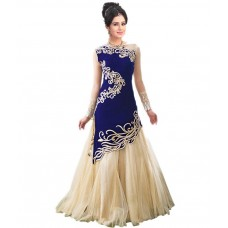 Deals, Discounts & Offers on Women Clothing - Enjoy India Off White And Blue Chiffon Embroidered Anarkali Dress Material