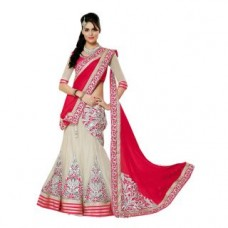 Deals, Discounts & Offers on Women Clothing - Janasya Lehenga Saree With Unstitched Blouse