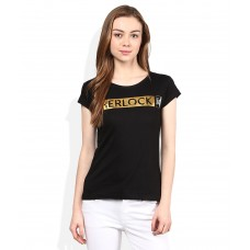 Deals, Discounts & Offers on Women Clothing - Sherlock Holmes Black Round Neck Printed Tees