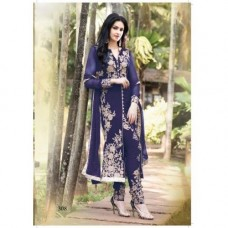 Deals, Discounts & Offers on Women Clothing -  Designer Stylish Dark Blue Georgette Embroidered Salwaar Kameez