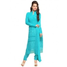 Deals, Discounts & Offers on Women Clothing - Vandv Buy Pure Chiffon Sky Blue Dress Material