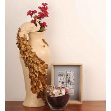 Deals, Discounts & Offers on Home Decor & Festive Needs - E-Studio Marble Dust Peacock Vase