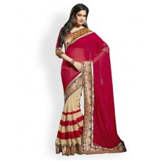 Deals, Discounts & Offers on Women Clothing - Janasya Half-half Heavy Border Designer Saree