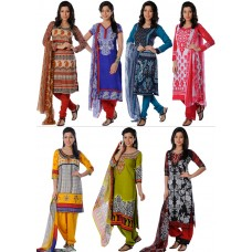 Deals, Discounts & Offers on Women Clothing - Combo of 7 Printed French Crepe Dress