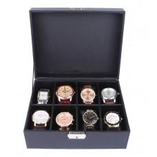 Deals, Discounts & Offers on Men - UberLyfe Black Leather Watch Case cum Organizer for 8 Watches