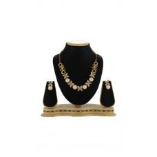 Deals, Discounts & Offers on Earings and Necklace - Sia Art Jewellery White Alloy Necklace Set