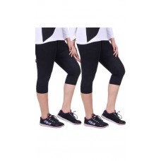 Deals, Discounts & Offers on Women Clothing - Madona Black Cotton Blend Pack of 2 Capri