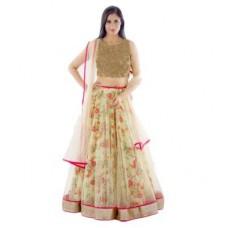 Deals, Discounts & Offers on Women Clothing - Janasya Women's Multicolor Net Lehenga