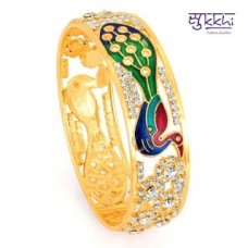 Deals, Discounts & Offers on Women - Sukkhi Meenakari Gold Plated Peacock Ad Kada