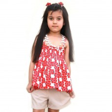 Deals, Discounts & Offers on Kid's Clothing - ShopperTree Red Flower Cotton Top Junior Girl