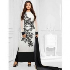 Deals, Discounts & Offers on Women Clothing - Craftliva Attractive Designer Heavy White And Black Georgette Straight Suit