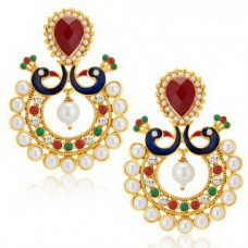 Deals, Discounts & Offers on Women - Sukkhi Gleaming Peacock Gold Plated Australian Diamond Earrings