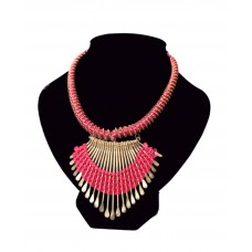 Deals, Discounts & Offers on Earings and Necklace - Iconic Jewellery Pink & Golden Jute Necklace