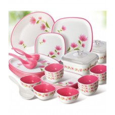 Deals, Discounts & Offers on Home & Kitchen - Nayasa White Square Dinner Set 32 Pcs