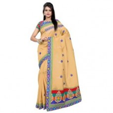 Deals, Discounts & Offers on Women Clothing - Triveni Staggering Beige Colored Embroidered Blended Cotton Saree