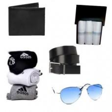 Deals, Discounts & Offers on Men - Feshya Combo Of Sunglass ,wallet, Belt, 3 Handkerchief, 3 Adidas Socks