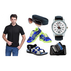 Deals, Discounts & Offers on Men - Combo Of Men T Shirt, Sandals, Shoes With Accessories @999- Flat 80 % Off