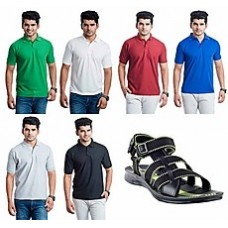 Deals, Discounts & Offers on Men Clothing - Eprilla Combo Of Green Men Sandals And 6 T-Shirts