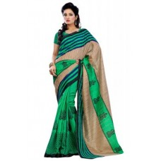 Deals, Discounts & Offers on Women Clothing - Riti Riwaz Green Bhagalpuri Silk Saree With Unstitched Blouse