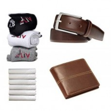 Deals, Discounts & Offers on Men - Fashion Men's Combo of Formal Belt,Wallet,3-Pair of Sock and Handkerchief