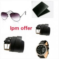 Deals, Discounts & Offers on Men - Pack Of Two Belt, Wallet, Watch And Sunglasses For Men