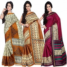 Deals, Discounts & Offers on Women Clothing - Shonaya Combo Of 3 Printed Sarees