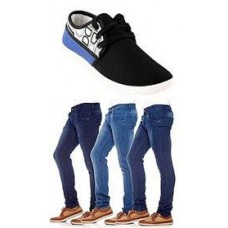 Deals, Discounts & Offers on Men - Combo Of Bacca Bucci Men Casual Shoes With 3 Denim @ Rs.1185/-