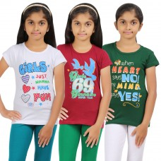 Deals, Discounts & Offers on Kid's Clothing - Rhamgold Combo of 3 pcs Printed Round Neck Girl's T-Shirt