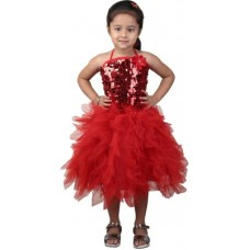 Deals, Discounts & Offers on Kid's Clothing - Crazeis Girl's Gathered Red Dress