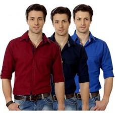 Deals, Discounts & Offers on Men Clothing - Suspense Men's Solid Casual Blue, Maroon, Dark Blue Shirt