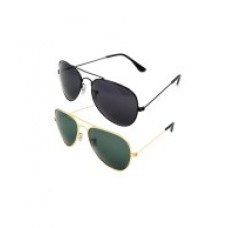 Deals, Discounts & Offers on Accessories - Fair-x Combo Of Golden & Black Aviator Sunglasses