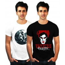 Deals, Discounts & Offers on Men Clothing - Incynk Exclusive Pack Of 2 White-Black Printed T-Shirts